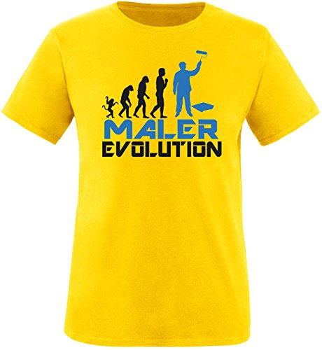 EZYshirt® Maler Evolution Herren Rundhals T-Shirt Gelb/Schwarz/Blau