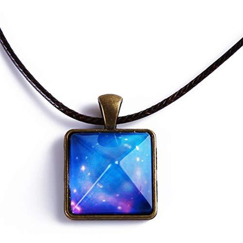 Toporchid Sternenhimmel Pyramide Geometrische Anhänger Halskette Schmuck Glow In The Dark Luminous Halskette Geschenk (Muster 2)