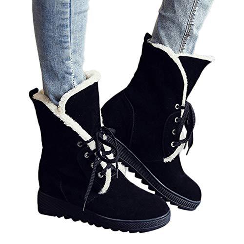 TianWlio Stiefel Frauen Herbst Winter Schuhe Stiefeletten Boots Hohe Schneestiefel Cross-Strap Damenstiefel aus Baumwolle Lässige Schnürschuhe Schwarz 38