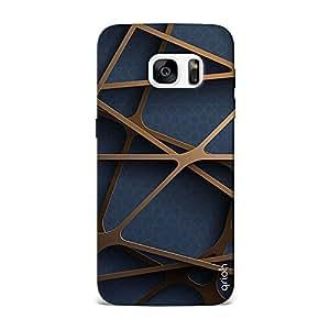 Qrioh Printed Designer Back Case Cover for Samsung S7 Edge - Gold Stencil