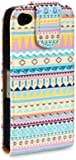 iPhone 4S / iPhone 4 Aztec PU Leather Flip Case / Cover / Pouch / Holster