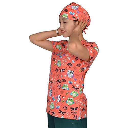 Medizinische Kleidung Baumwolle Krankenschwester Arzt Arbeit Einheitliche Druck V-Ausschnitt Atmungsaktive Weibliche Medizinische Uniform, L ()