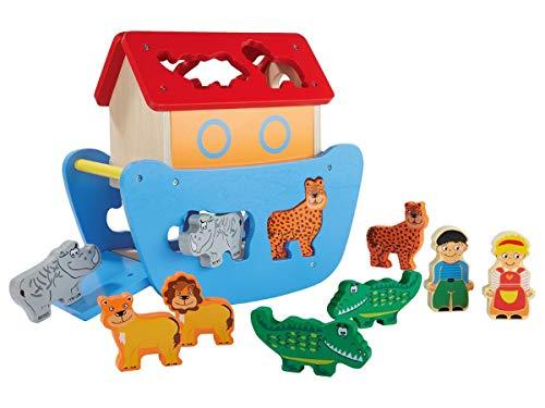 Playtive Junior Holzspielzeug Steckspiel (11-teilig) Arche Noah Holz Tiere