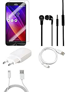 NIROSHA Tempered Glass Screen Guard Cover Case Charger Headphone USB Cable for ASUS Zenfone Laser 2 ZE500KL - Combo
