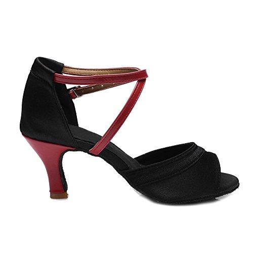 Hroyl Femmes I7-221 Paillette / Satin Chaussures De Danse Latine / Moderne / Jazz / Latin / Chacha / Samba Salle De Bal 7cm Rojo