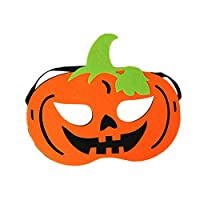 Haodou Children Halloween Party Masquerade Prom Face Mask Ball Party Pirate Pumpkin Witch Skull Mask Universal Face Decoration Cosplay Dress-Up Costume Accessory (Pumpkin)