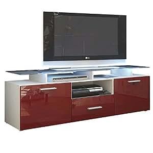 Kofkever Milano 1003 moderno mobile Porta Tv Bianco e Bordeaux Rosso Lucido Brillante sala soggiorno salotto