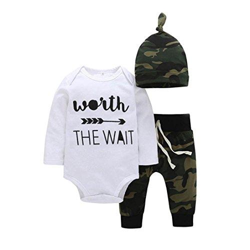 Strampler Baby Body Longra Baby Mädchen Jungen Kleidung mit Langarm Body + Camouflage Lang Hosen + Hut Baby Unisex Stramplerset (0 -24 Monate) (80CM 12Monate, White)