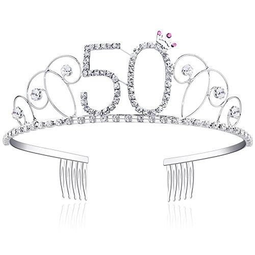 BABEYOND® Kristall Geburtstag Tiara Birthday Crown Prinzessin Kronen Haar-Zusätze Silber Diamante Glücklicher 18/20/21/30/40/50/60 Geburtstag (50 Jahre alt)