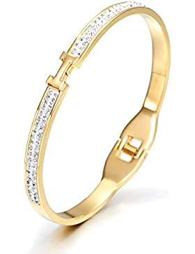 Wistic Dame Armreifen Edelstahl Gold überzog Bling Bling Armband mit Kristall Weihnachtsgeschenk(gold)