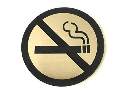 No Smoking Sign rund selbstklebend kupfer und schwarz metallic-finish geeignet für Business Corporate Hotel Private Bar Restaurant - Kupfer Schild