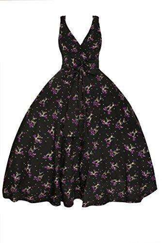 Neu Damen Retro Vintage 1950er Rockabilly Swing Party Kleid In Bambi Druck In Übergröße Schwarz