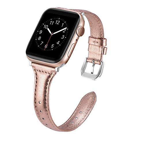 Dolank kompatibel mit Apple Watch Armband 38mm 40mm 42mm 44mm, Chic&Retro Leder Armbänder Sport Ersatz Uhrenarmband mit Edelstahl Schnalle für iWatch, Nike+, Series 4 3 2 1, Edition