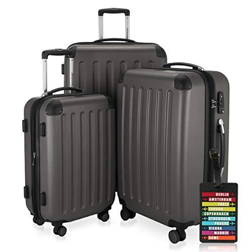 Hauptstadtkoffer - Spree - 3er-Koffer-Set Trolley-Set Rollkoffer Reisekoffer-Set Erweiterbar, TSA, 4 Rollen, (S, M & L), Graphit inkl. Design Kofferanhänger