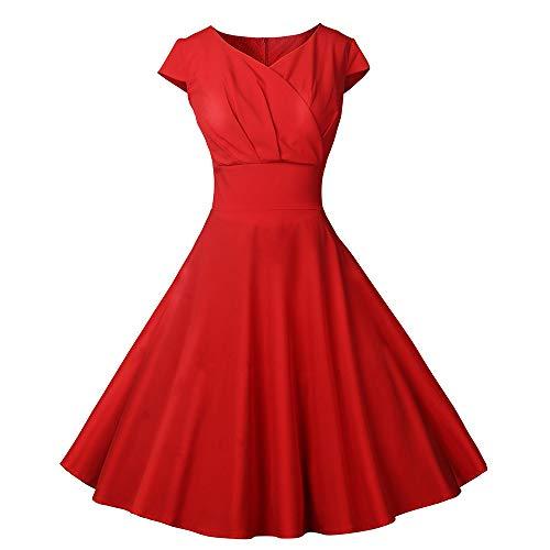 Vectry 1950er Vintage Retro Cocktailkleid Rockabilly V-Ausschnitt Faltenrock Damen Vintage Kleid 50s Kleid Sommerkleid Knielang Kleid Damen Elegant 50er Jahre Kleider Petticoat Kleider(rot, ()
