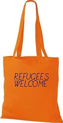ShirtInStyle Stoff-beutel Baumwolltasche refugees welcome, Flüchtlinge, Bleiberecht, Farbe Pink orange