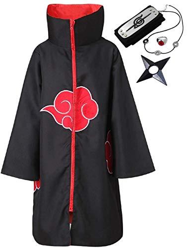 Angelaicos Unisex-Erwachsener Unisex Halloween Cosplay Uniform Umhang mit Stirnband groß Mantel mit - Madara Uchiha Akatsuki Kostüm