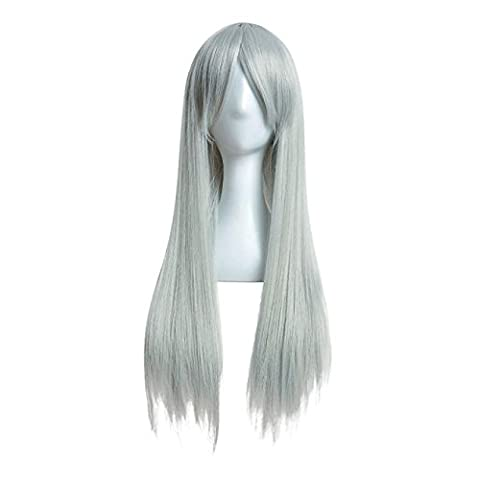 Tianya Filtre fascinant Long pour femme droite complète Cheveux Perruques de fête d'Halloween Perruque cheveux pour femme, gris, Length:80cm