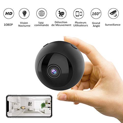 Mini Kamera - CUSFLYX Wireless WiFi HD 1080P Kamera Tragbare Kindermädchen Heimbüro Sport Sicherheitsüberwachungskamera 160 ° Weitwinkel IR Nachtsicht Bewegungserkennungs Loop Aufnahme (Schwarz)