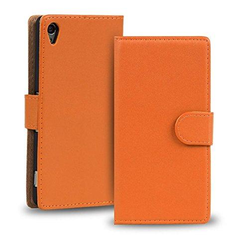 Verco Xperia Z2 Hülle, Handyhülle für Sony Xperia Z2 Tasche PU Leder Flip Case Brieftasche - Orange