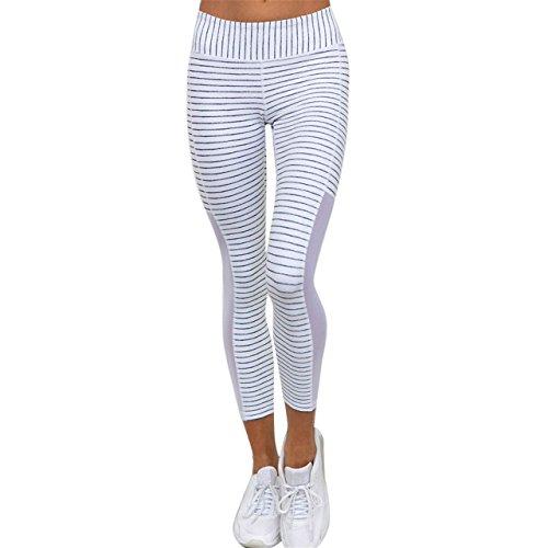 (YUAN Sport Leggings Damen Printed Streifen Strumpfhose Hose Workout Stretch High Elastic Yoga Hosen Jogginghose)