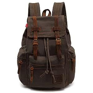 Vokul® Vintage Casual Canvas Leather Shoulder Backpack Rucksack Bookbag Satchel Hiking Bag (Army Green)