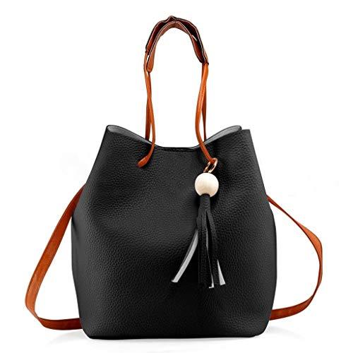 KIMODO® 2PCS Damen Quaste Geldbörse + Schultertasche, Frauen Tote Messenger Satchel Crossbody Umhängetasche Henkeltasche Elegante Handtasche -
