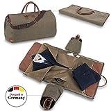 Snugs Weekender Canvas Reisetasche Leder mit Integriertem Reisesack Reisetasche; faltenfreier Anzug, Kostüm, Kleid