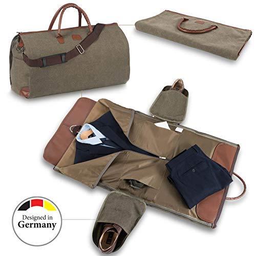 Snugs Weekender Canvas Reisetasche Leder mit Integriertem Reisesack Reisetasche; faltenfreier Anzug, Kostüm, - Kostüm N Mehr