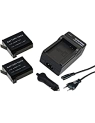 2x Akku (baugleich GoPro AHDBT-401) + 1x Ladegerät SET für die GoPro Hero4 Hero 4 GoPro Black, White & Silver Edition inklusive Kfz- / Autoladegerät