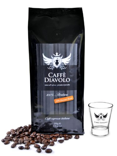 Caffe Diavolo - Nero Hawaii Kona & 6 Espressogläsern - 4 x 250 Gramm Bohne