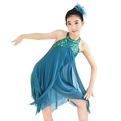 MiDee Mädchen-Halter Hals Paillettenbesetzte Unregelmäßiges Lateinisches Kleid Tanz Kostüm (Türkis, PA)