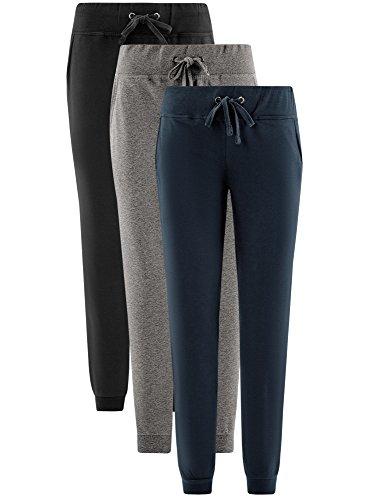 oodji Ultra Donna Pantaloni in Maglia (Pacco di 3) Multicolore (19EPN)