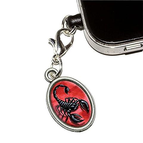 Scorpion sur rouge–Insectes Bug Venom Fatale Téléphone Mobile Jack anti-poussière ovale Charme Compatible avec iPhone iPod Galaxy