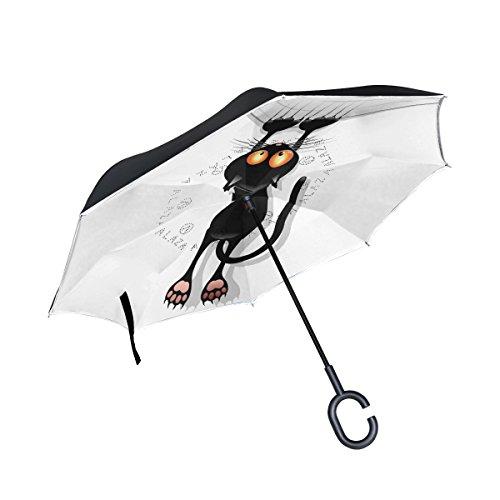 Isaoa grande ombrello invertito ombrello antivento doppio strato reversed ombrello pieghevole per auto pioggia esterni, manico c-shaped self-standing cat cartoon scratching ombrello (bianco)