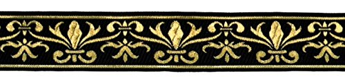 10m Französische Lilie Borte Fleur de Lis Webband 35mm Farbe: Schwarz-Gold von 1A-Kurzwaren 35060-swgo Jacquard-fleur De Lis