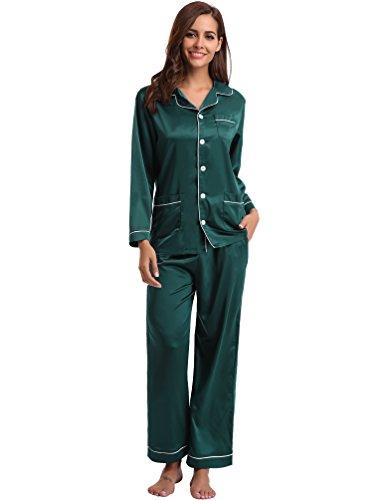 Aibrou Pijamas Mujer Invierno 5 Bolsillos Seda Saten,Suave,Cómodo,Sedoso