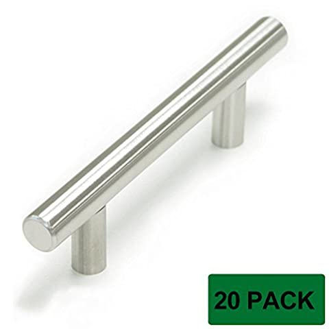 Probrico Stainless Steel Modern Cabinet Handles, Drawer Pulls, Kitchen Cupboard T Bar Knobs and Pull Handles Brushed Nickel - 3 Inch Screw Spacing - 20Pack by Probrico