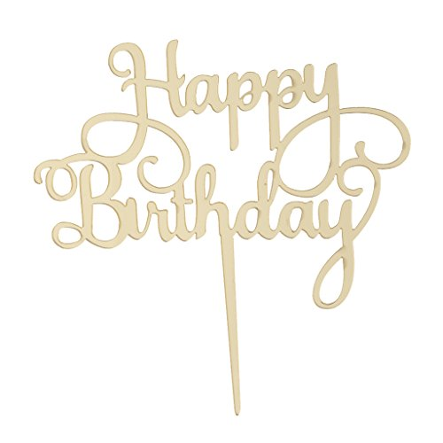 P Prettyia Acryl Happy Birthday Cake Topper Tortenstecker Geburtstag Deko - Gold