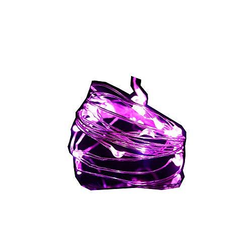 (Lichterkette,FeiliandaJJ 1M 10pcs IP65 Wasserdichte Kupferdraht LED Licht Hochzeit Party Halloween Xmas Innen/Außen Haus Deko String Lights 2x CR2032 Batterie (Lila))