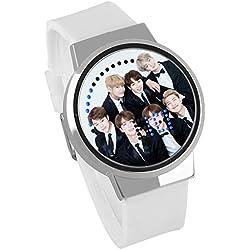 Fanmuran Reloj Digital de Pulsera LED Pantalla táctil Reloj Inteligente KPOP BT21 Coreano Impermeable Reloj Moderno diseño Apoyo de Jimin Jin Suga Jungkook Koya V J Hope(18#)
