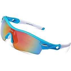 Gafas de Sol Deportivas Polarizadas,Carfia TR90 UV400 Unisex Gafas de Sol Deportivas Polarizadas a prueba de Viento 5 Lentes de Cambios Incluido para Deporte y Aire Libre Ciclismo Conducción Pesca Esquiar Golf Correr A
