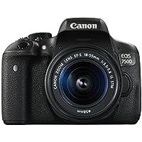 Canon EOS 750D SLR-Digitalkamera (24 Megapixel, APS-C CMOS-Sensor, WiFi, NFC, Full-HD) Kit inkl. EF-S 18-55 mm IS STM Objektiv schwarz