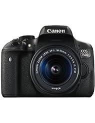Canon EOS 750D SLR-Digitalkamera (24 Megapixel, APS-C CMOS-Sensor, WiFi, NFC, Full-HD, Kit inkl. EF-S 18-55 mm IS STM Objektiv) schwarz