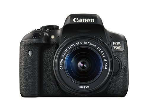 Canon EOS 750D SLR-Digitalkamera (24 Megapixel, APS-C CMOS-Sensor, WiFi, NFC, Full-HD, Kit inkl. EF-S 18-55 mm IS STM Objektiv) schwarz