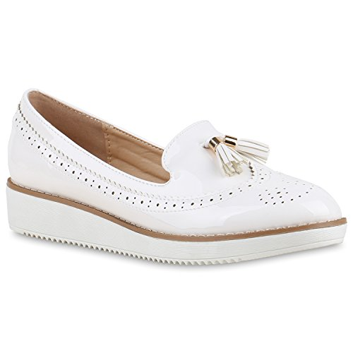 Damen Loafers Quasten Glitzer Slipper Profilsohle Dandy Geek Weiss Quasten