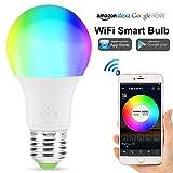 SQUAREDO Lampadina Smart WiFi, LED RGB a Colori modificabili, Compatibile con Amazon Alexa e Google Home Assistant, nessun hub richiesto, con adattatori per Base a bulbo da G24 a E27 LED