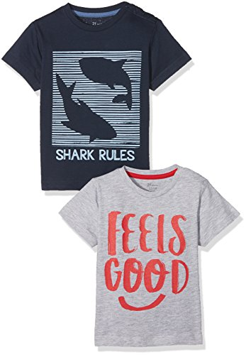 Zippy ZTB02_430_7, T-Shirt Bébé garçon, Bleu (Dress Blue/Light Grey Melange 19-4024 TC), 68 cm (Lot de 2)