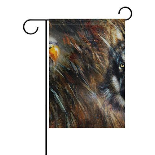 JIRT Garten-Flagge, 30,5 x 45,7 cm, Malerei Wolf Adler, Federn, doppelseitig, Polyester, Banner für drinnen und draußen, für Rasen und Hof, Dekoration, Image 298, 12x18(in)