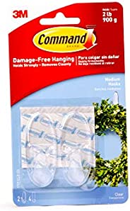 CommandTM Medium Clear Hooks with Clear Strips 17091CLR-ES